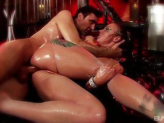 Dreadfully lubed whore with big assassination Adrianna Nicole is fucked doggy hard