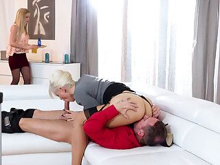 Stepmom having a 3some with a stepdaughter with the addition of her BF