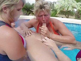Three GERMAN mommies Help Sponger To Spunk On Holiday In FFFM - ANALDIN