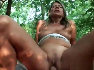 Blonde Gilf Samantha Riding Bushwa Woods Cowgirl