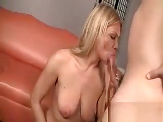 Cougar Sucking Horny Cock On Knees