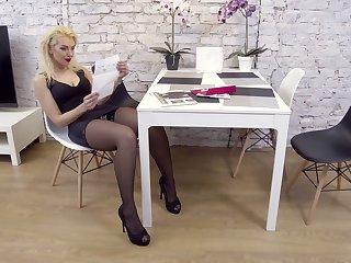 Slutty housewife in stockings Zara masturbates sex-starved twat