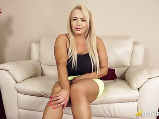 Chubby blonde Jem Stone is flashing their way pink panties and puffy pussy upskirt