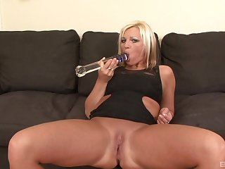 Naughty non-specific Kika slurps above a black dick after she masturbated with big dildo