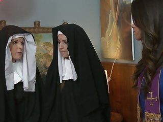 Sinful nuns get nasty and treasure having first passionate lesbian sex