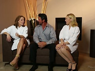 In all directions from lubed sex-crazed masseuse Britney Amber thirsts to enjoy MFF threesome