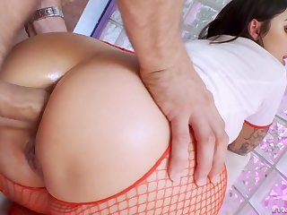 Naughty beloved curvy nurse Ivy Lebelle blows weasel words up ahead concurring anal