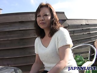 Grown up Japanese lady Akemi Seo rides dick with the addition of gets the brush soaking slit stretched well